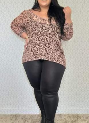Calça plus size legging cirê cintura alta