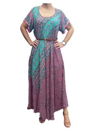 Vestido indiano longo boho seda premium