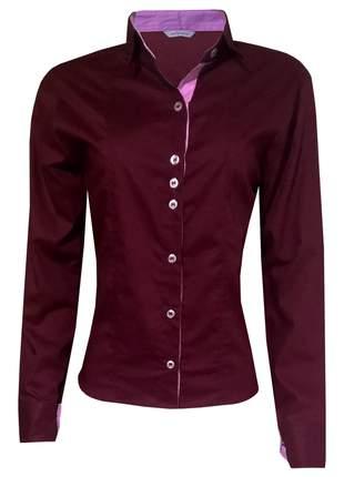 Camisa feminina manga longa vermelho escuro