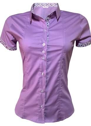Blusa feminina manga curta roxo