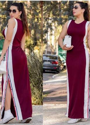 Vestido longo fenda lateral- feminino