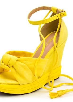 Sandália feminina nó amarela amarrar na perna salto plataforma