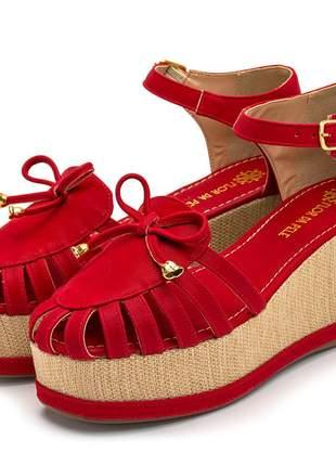 Sandália anabela vermelha laço salto medio juta bege