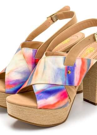Sandália meia pata salto alto tie dye com detalhes em juta bege