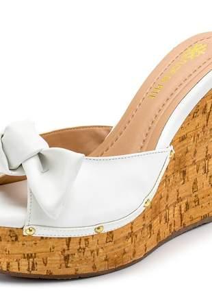Sandália anabela tamanco laço branco salto estampa madeira