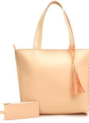 Bolsa feminina sacola grande +porta moeda creme marfim