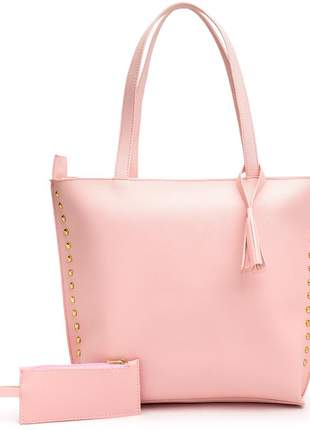 Bolsa feminina sacola grande +porta moeda rosa claro