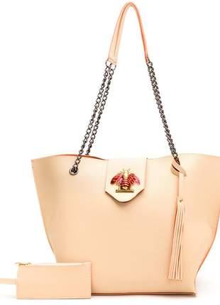 Bolsa sacola grande alça corrente niquel marfim strass abelha + porta moeda
