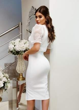 Vestido midi festa casamento civil noivado batizado rendado branco off + cropped |erika|