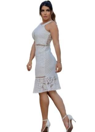 Vestido boutelle de festa branco curto de renda formatura, casamento