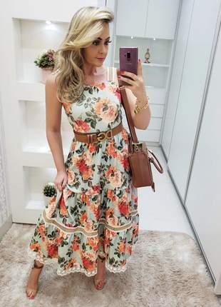 Vestido mid floral coleção infinito