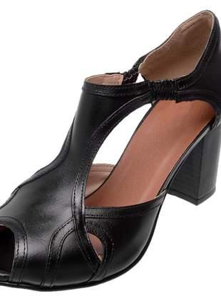 Sandália peep toe pierrô couro legítimo cor preta