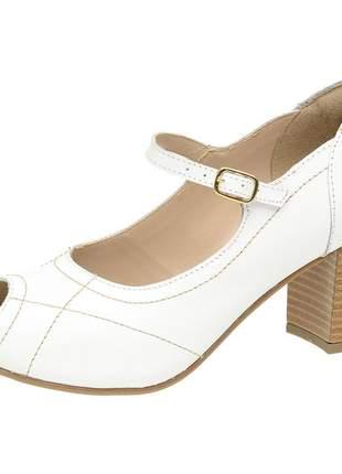Sandália peep toe pierrô couro legítimo cor branca