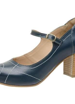 Sandália peep toe pierrô couro legítimo cor azul