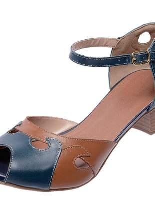 Sandália peep toe pierrô salto baixo couro legítimo cores azul e whisky