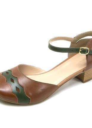 Sandália peep toe pierrô salto baixo couro legítimo cor chocolate