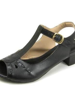 Sandália peep toe pierrô salto baixo couro legítimo cor preta