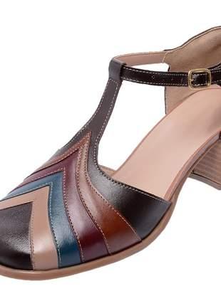 Sapato bico quadrado pierrô salto baixo couro legítimo