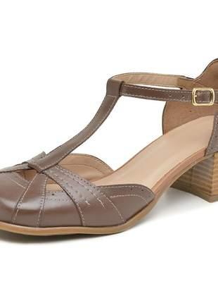 Sapato bico quadrado pierrô salto baixo couro legítimo cor tabaco