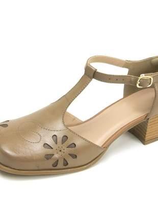 Sapato bico quadrado pierrô salto baixo couro legítimo cor taupe