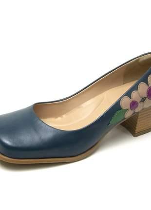 Sapato bico quadrado pierrô salto baixo couro legítimo cor azul