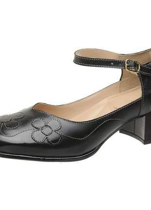 Sapato bico quadrado pierrô salto baixo couro legítimo cor preto