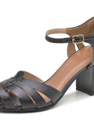Sapato boneca assandalhado pierrô salto alto couro legítimo cor preta