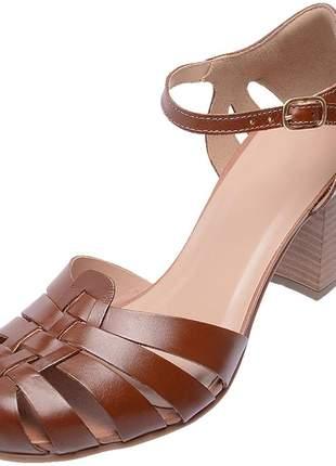 Sapato boneca assandalhado pierrô salto alto couro legítimo cor chocolate