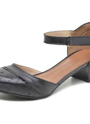 Sapato boneca assandalhado pierrô salto baixo couro legítimo cor preta