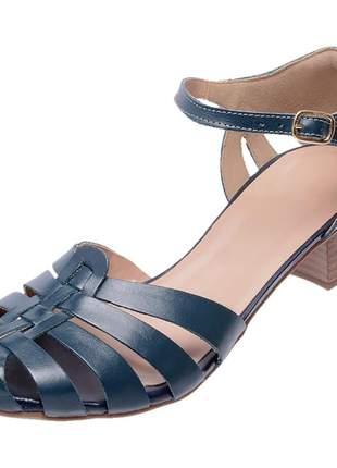 Sapato boneca assandalhado pierrô salto baixo couro legítimo cor azul marinho