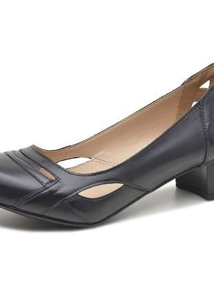 Sapato boneca pierrô salto baixo couro legítimo cor preto