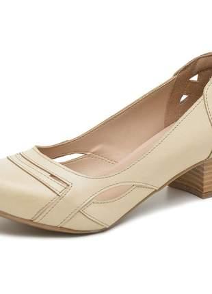 Sapato boneca pierrô salto baixo couro legítimo cor pérola