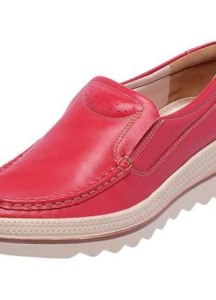 Mocassim pierrô plataforma conforto couro legítimo cor vermelho