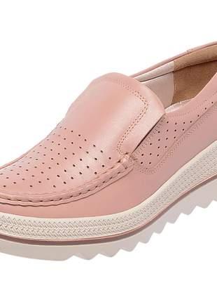 Mocassim pierrô plataforma conforto couro legítimo cor rosê