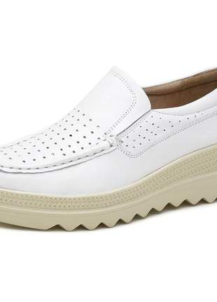 Mocassim pierrô plataforma conforto couro legítimo cor branca