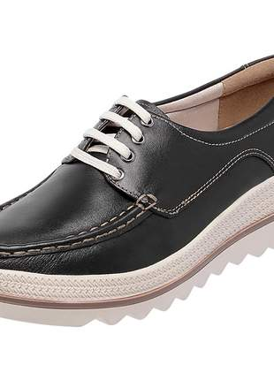 Mocassim pierrô plataforma conforto couro legítimo cor preto
