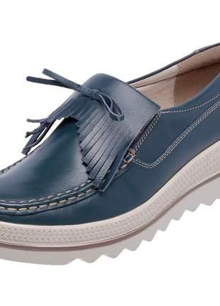 Mocassim pierrô plataforma conforto couro legítimo cor azul marinho