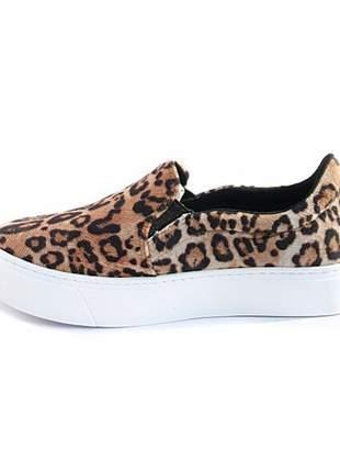 Slip-on feminino leopardo