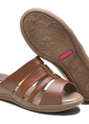 Sandália tamanco ortopédico conforto feminina ana flex em couro legitimo conhaque