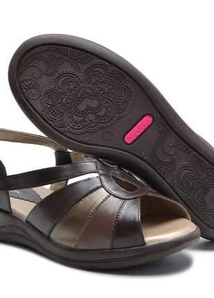 Sandália ortopédica conforto feminina ana flex em couro legitimo café, bronze e tabaco