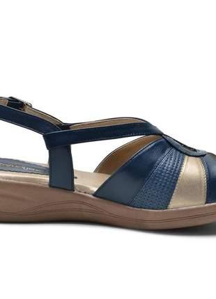 Sandália ortopédica conforto feminina em couro legitimo azul marinho e prata velha