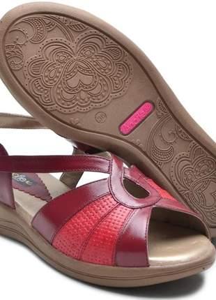 Sandália ortopédica conforto feminina ana flex em couro legitimo vinho