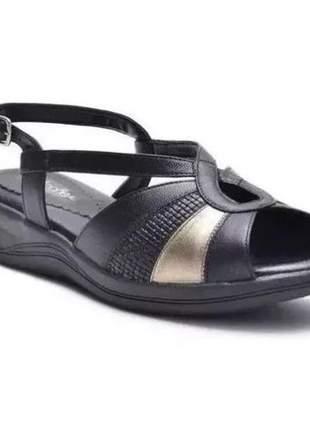 Sandália ortopédica conforto feminina ana flex em couro legitimo preto