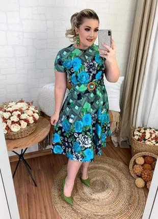 Vestido moda evangélica moda feminina social godê fecho floral festa