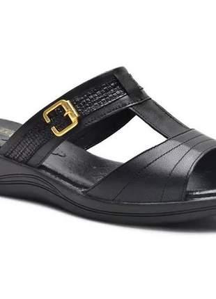 Sandália tamanco ortopédico conforto feminina ana flex em couro legitimo preto
