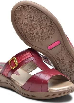 Sandália tamanco ortopédico conforto feminina ana flex em couro legitimo vinho
