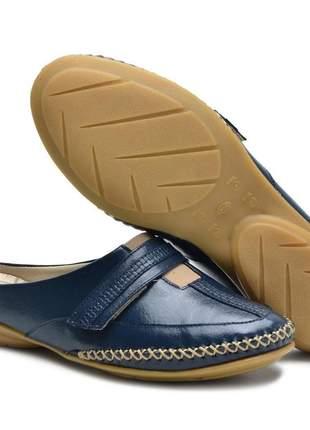 Sandália mule ortopédica conforto feminina ana flex em couro legitimo azul marinho