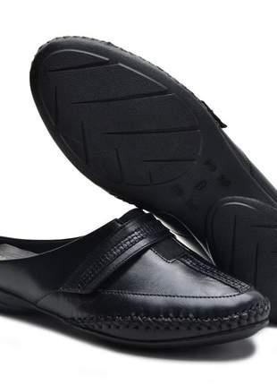Sandália mule ortopédica conforto feminina ana flex em couro legitimo preto