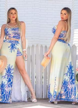 Conjunto cropped e shorts saia com fenda