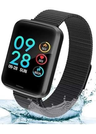 Relógio smartwatch importado p70 preto 2 pulseiras smart fit amazfit inteligente feminino